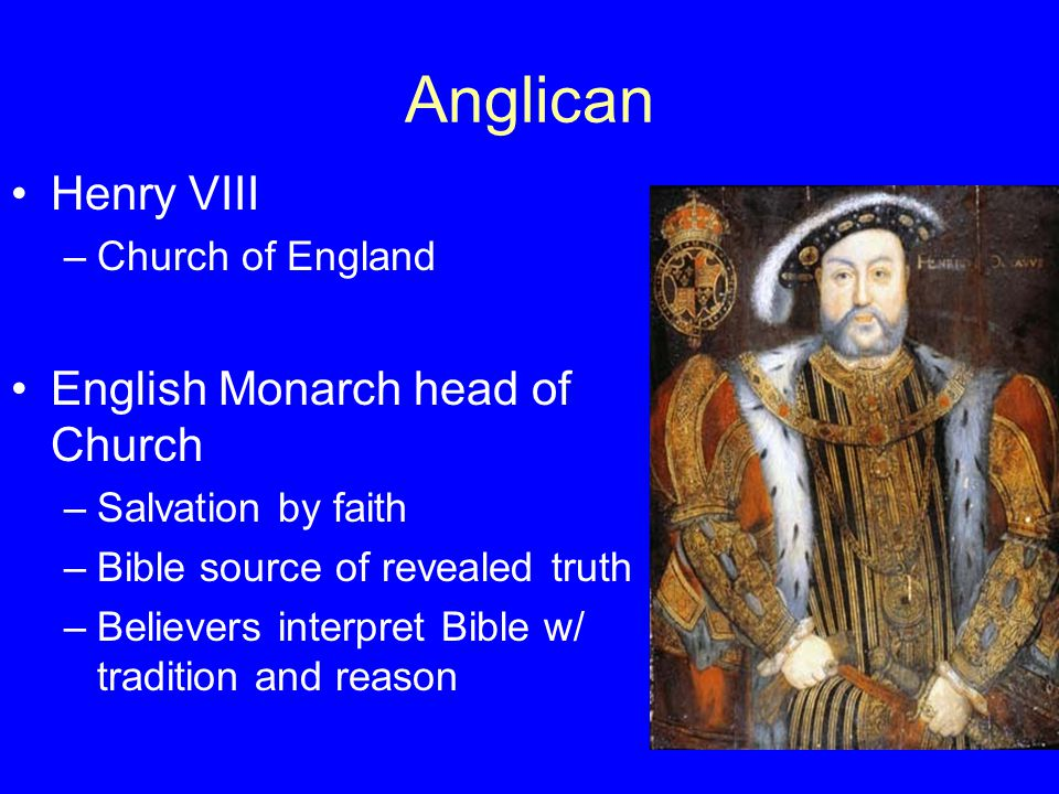 Anglican Henry VIII English Monarch head of Church Church of England