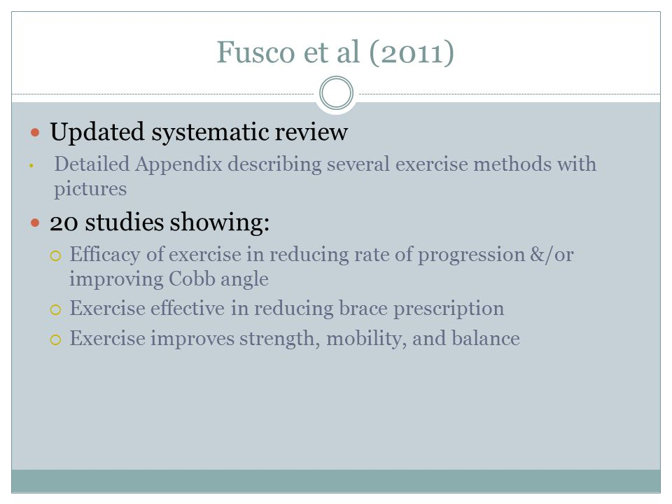 Fusco et al (2011) Updated systematic review 20 studies showing: