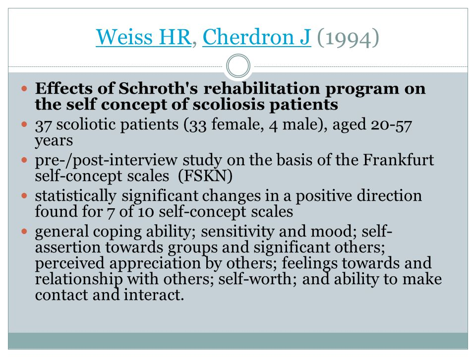 Weiss HR, Cherdron J (1994) Effects of Schroth s rehabilitation program on the self concept of scoliosis patients.