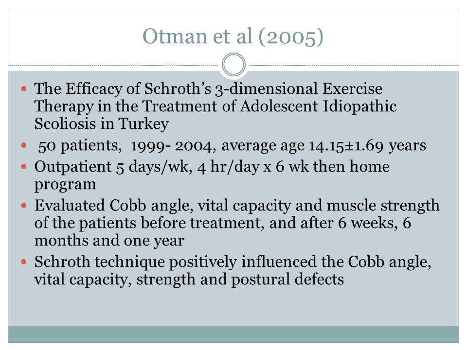 Otman et al (2005) The Efficacy of Schroth's 3-dimensional Exercise Therapy in the Treatment of Adolescent Idiopathic Scoliosis in Turkey.
