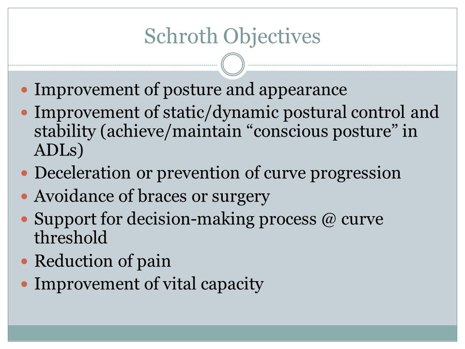 Schroth Objectives Improvement of posture and appearance