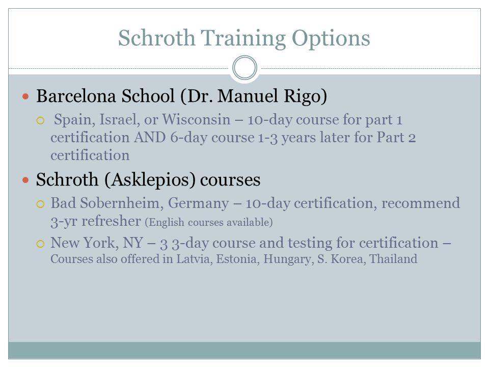 Schroth Training Options