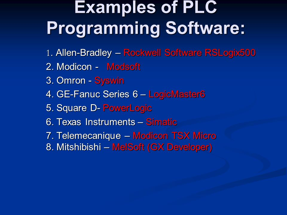 Examples of PLC Programming Software: