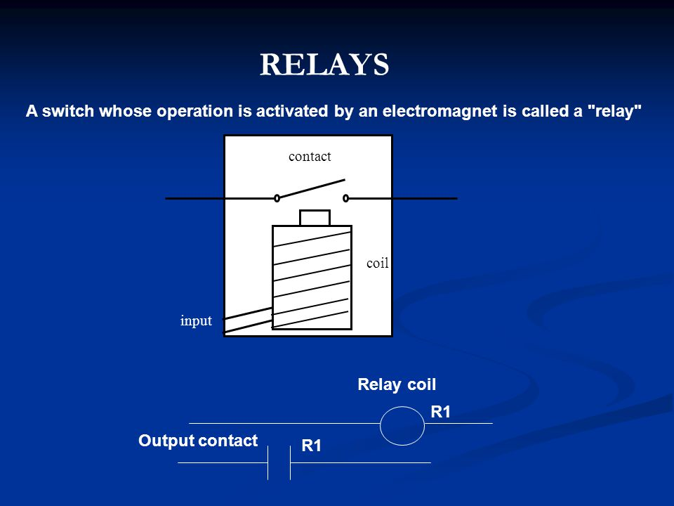 RELAYS A switch whose operation is activated by an electromagnet is called a relay contact. coil.