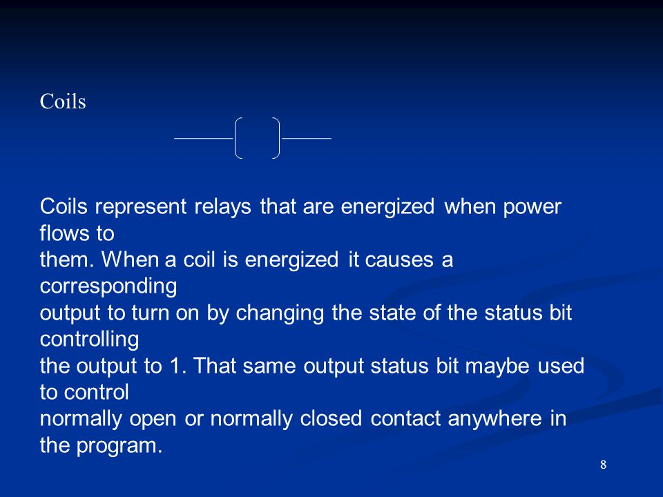Coils represent relays that are energized when power flows to