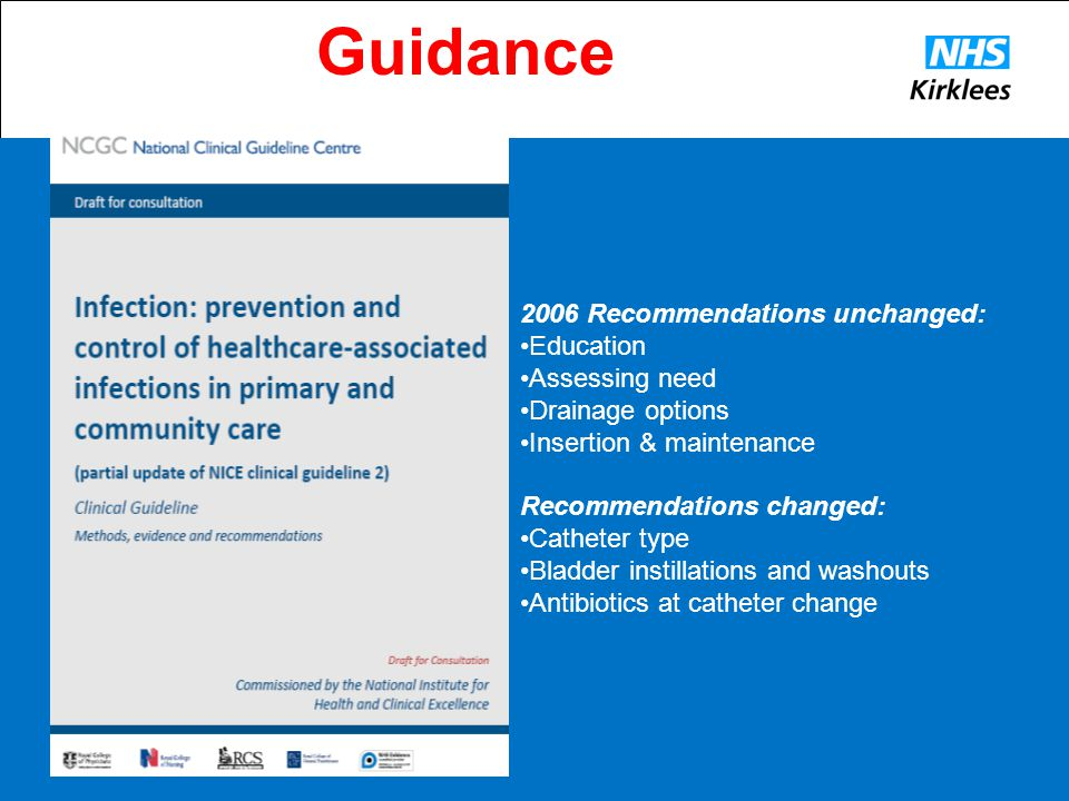 Guidance 2006 Recommendations unchanged: •Education •Assessing need