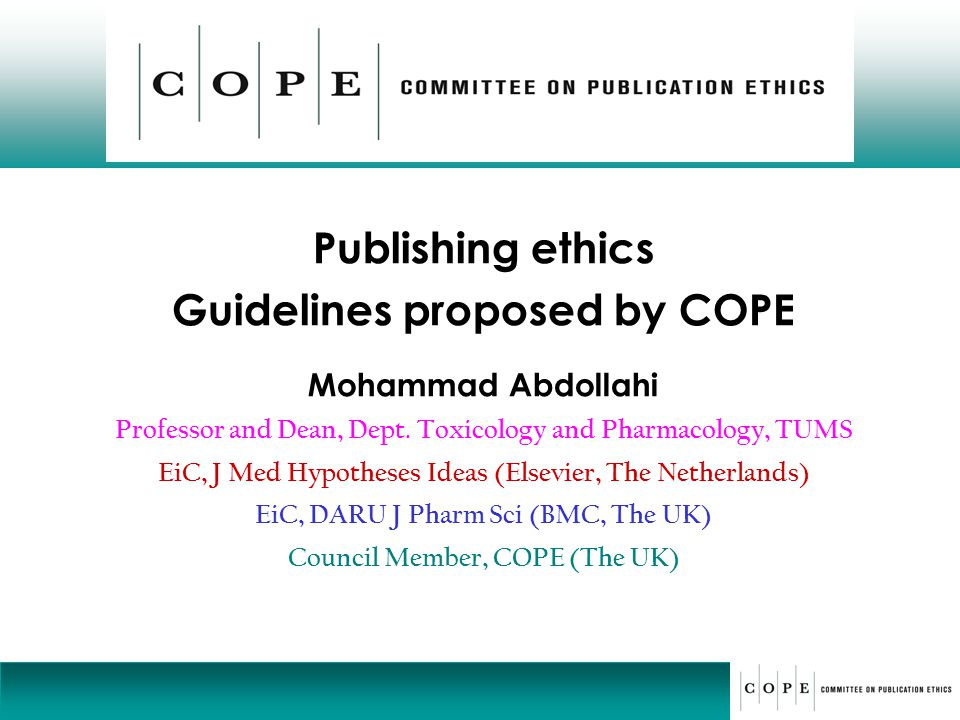 Publishing ethics Guidelines proposed by COPE