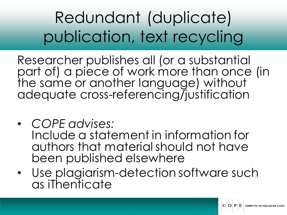 Redundant (duplicate) publication, text recycling