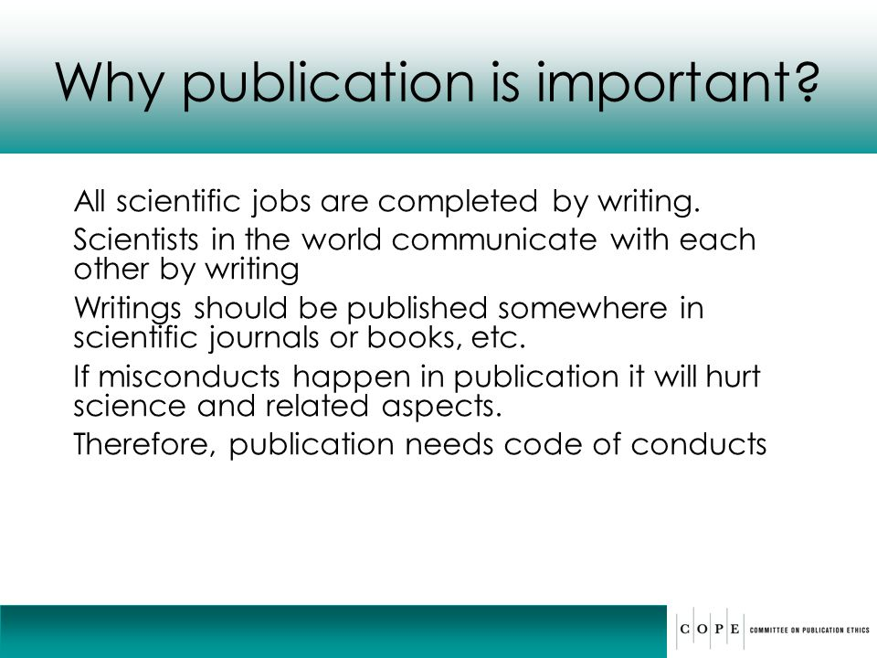 Why publication is important