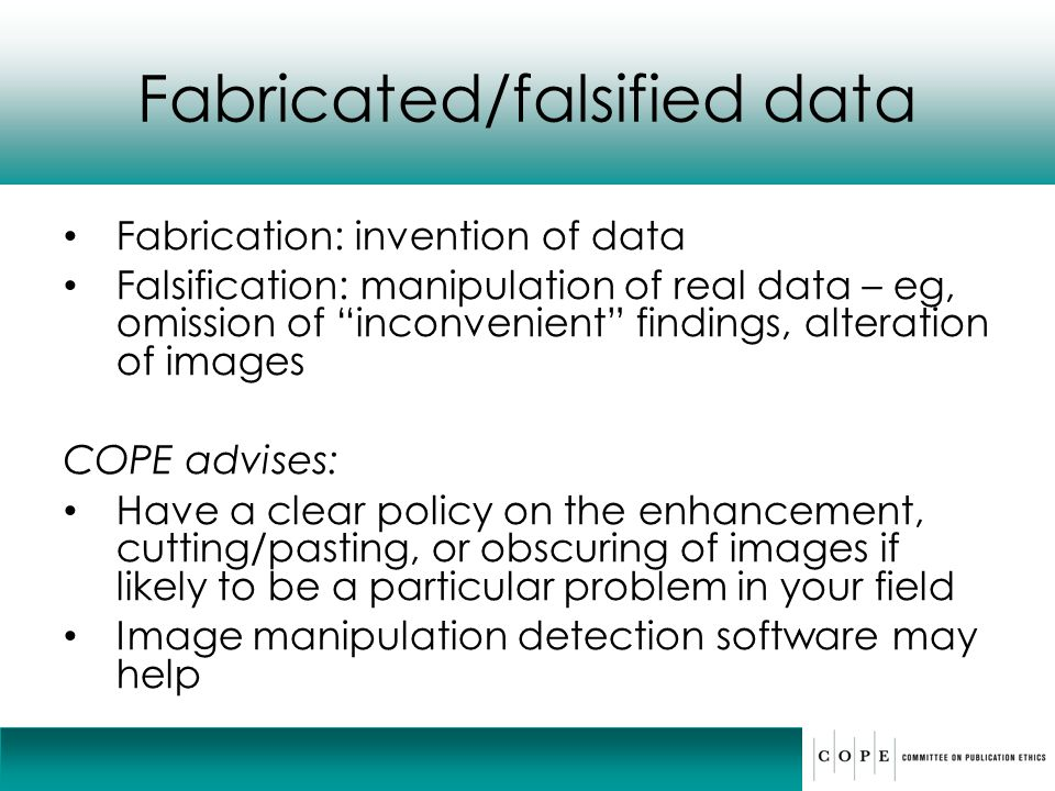 Fabricated/falsified data