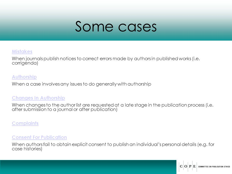 Some cases Mistakes Authorship Changes In Authorship Complaints