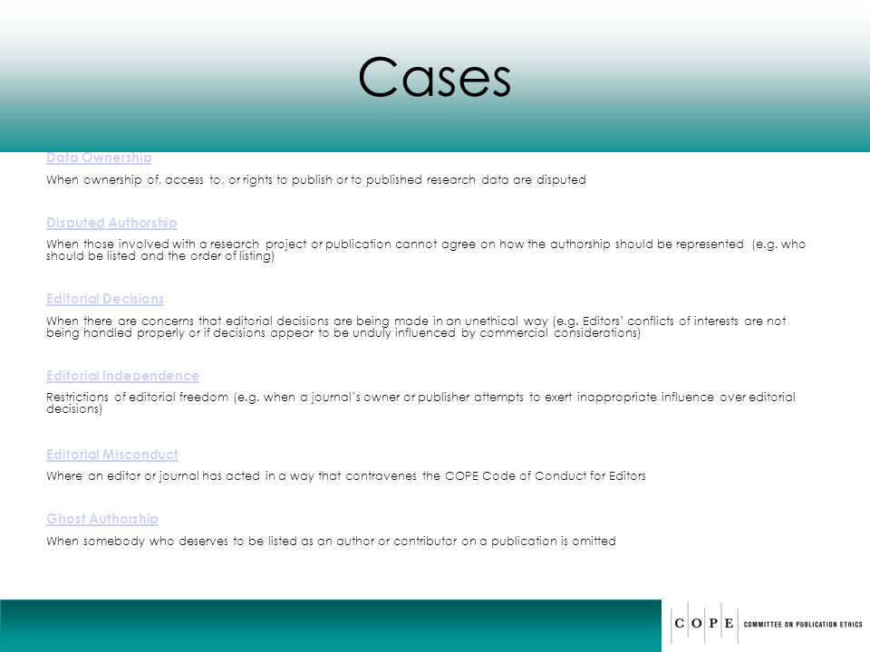 Cases Data Ownership Disputed Authorship Editorial Decisions