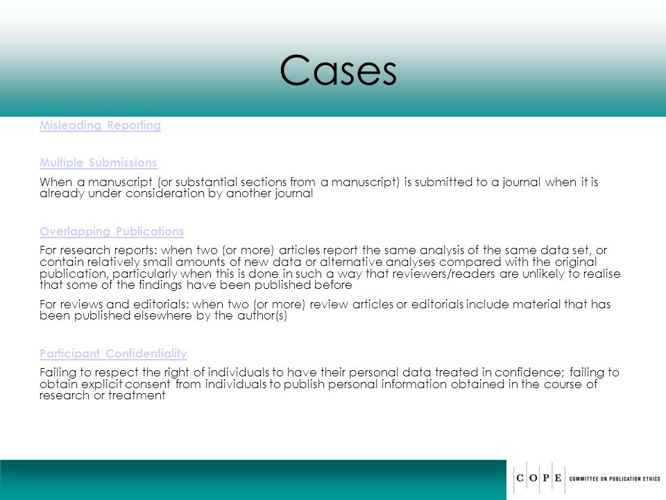 Cases Misleading Reporting Multiple Submissions