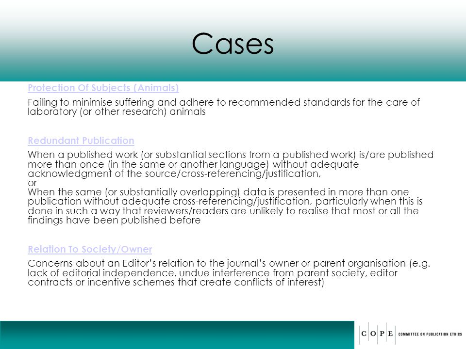 Cases Protection Of Subjects (Animals)