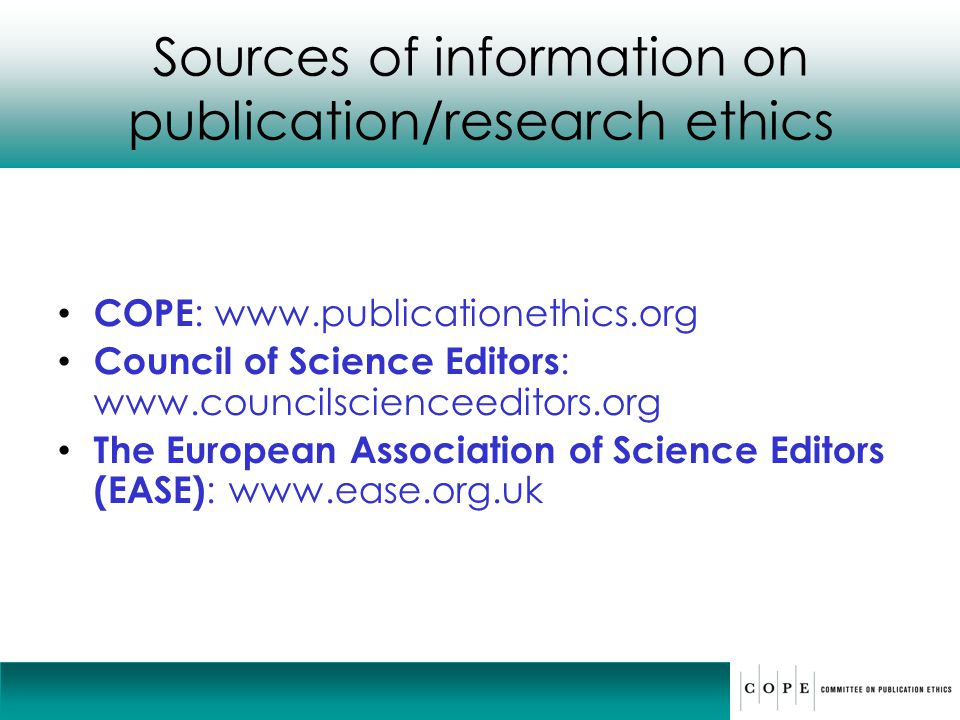 Sources of information on publication/research ethics