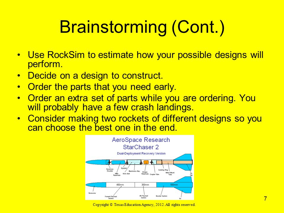 Brainstorming (Cont.) Use RockSim to estimate how your possible designs will perform. Decide on a design to construct.