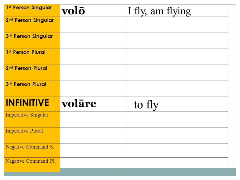 to fly volō I fly, am flying volāre INFINITIVE 1st Person Singular