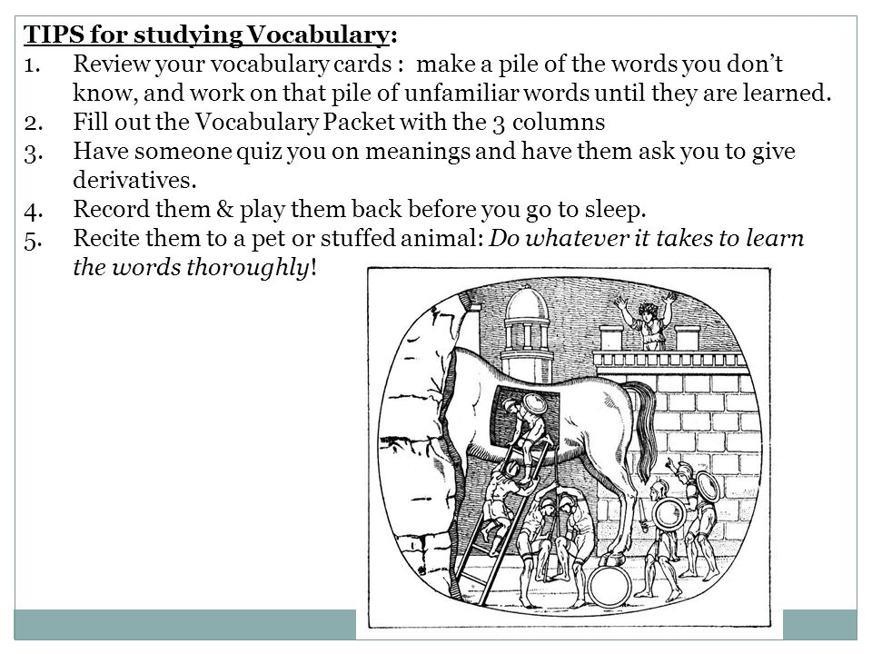 TIPS for studying Vocabulary:
