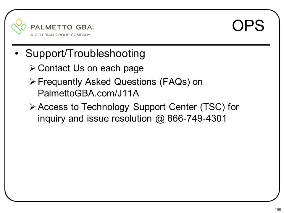 OPS Support/Troubleshooting Contact Us on each page