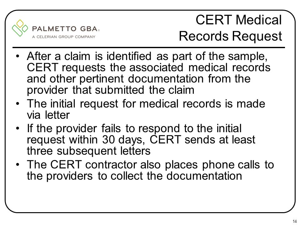 CERT Medical Records Request