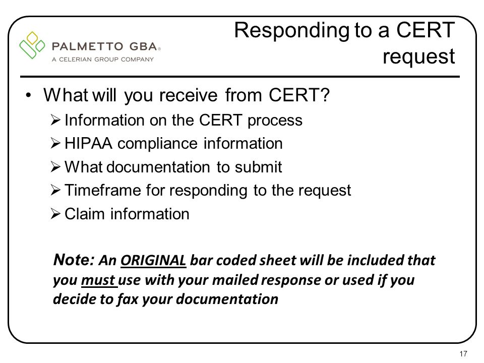 Responding to a CERT request