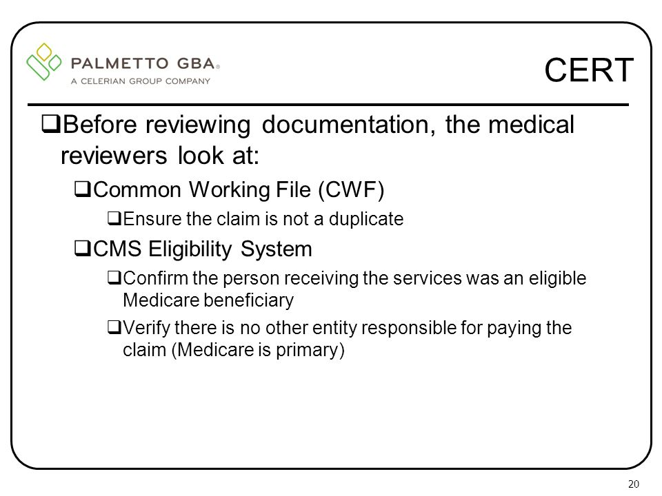 CERT Before reviewing documentation, the medical reviewers look at: