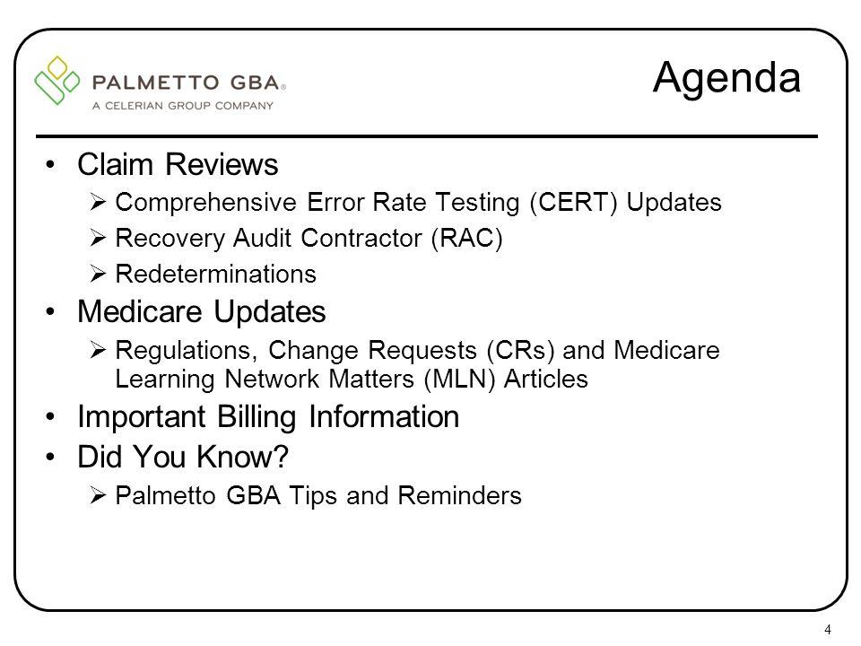 Agenda Claim Reviews Medicare Updates Important Billing Information