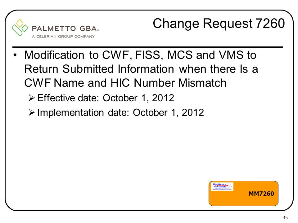Change Request 7260 Modification to CWF, FISS, MCS and VMS to Return Submitted Information when there Is a CWF Name and HIC Number Mismatch.