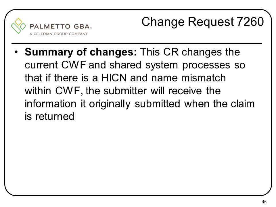 Change Request 7260