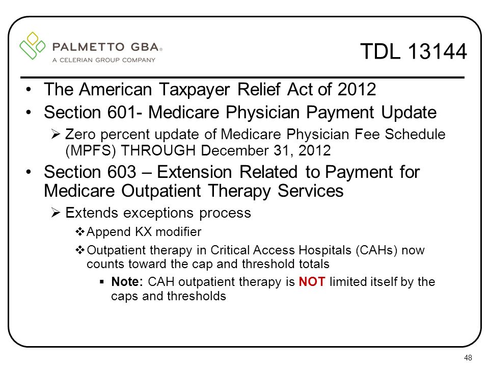 TDL 13144 The American Taxpayer Relief Act of 2012