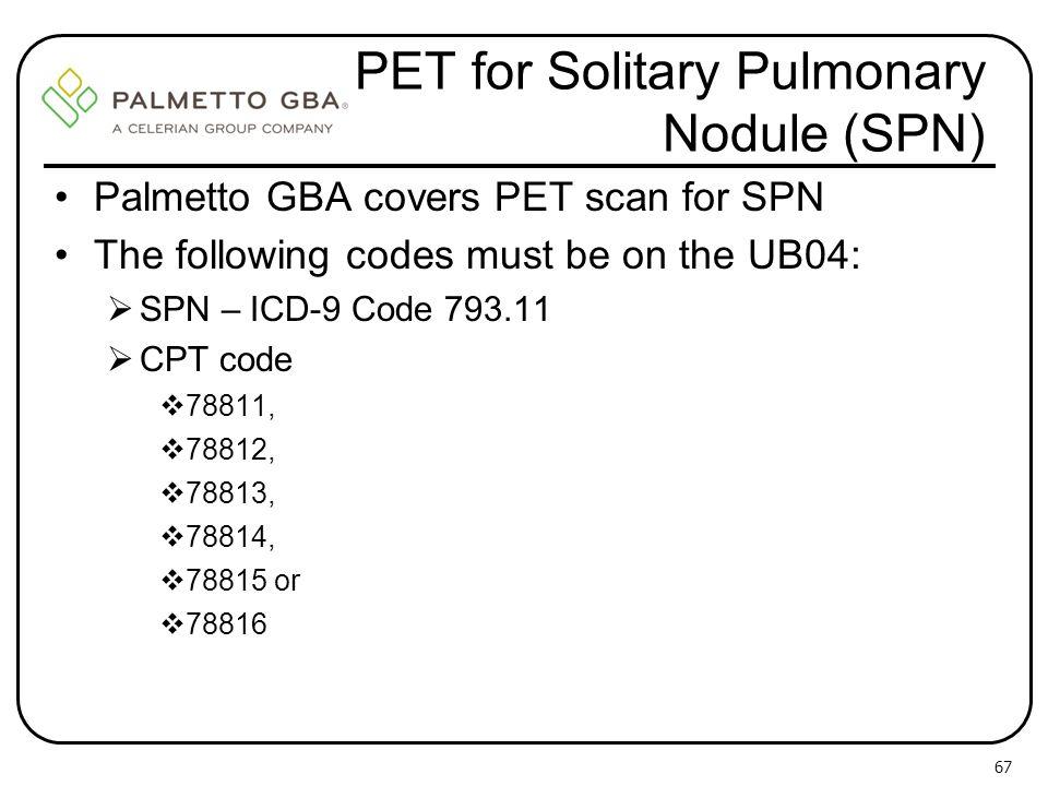 PET for Solitary Pulmonary Nodule (SPN)