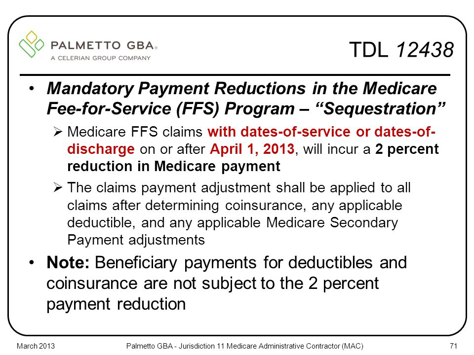 TDL 12438 Mandatory Payment Reductions in the Medicare Fee-for-Service (FFS) Program – Sequestration