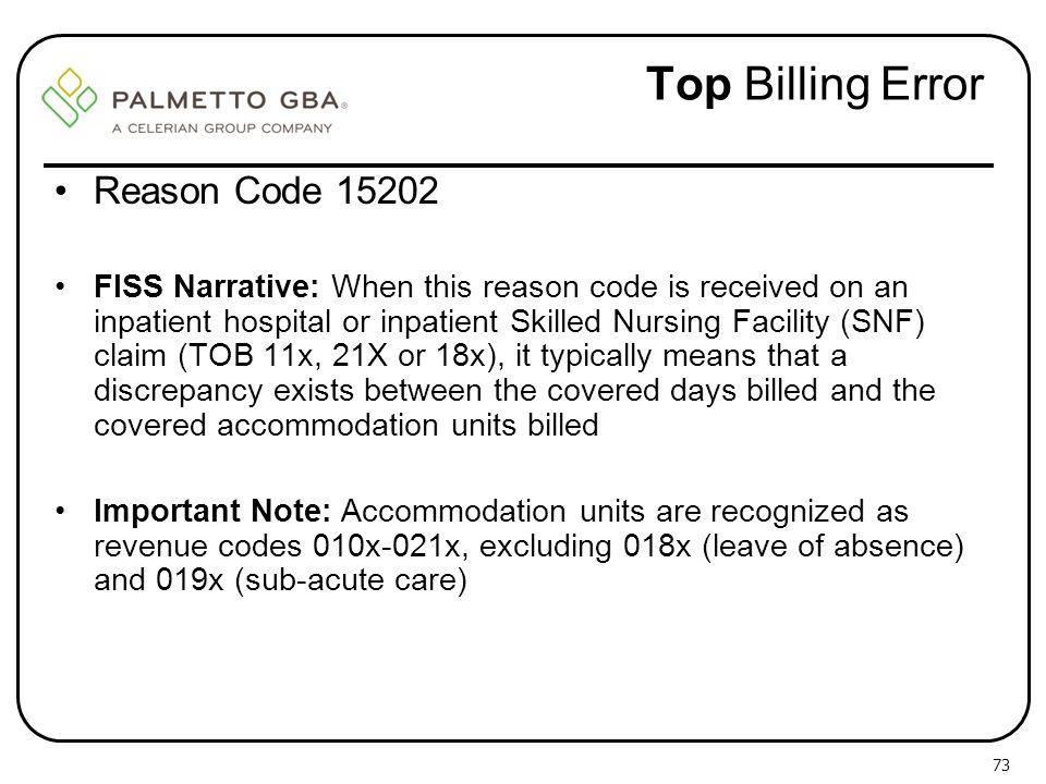 Top Billing Error Reason Code 15202