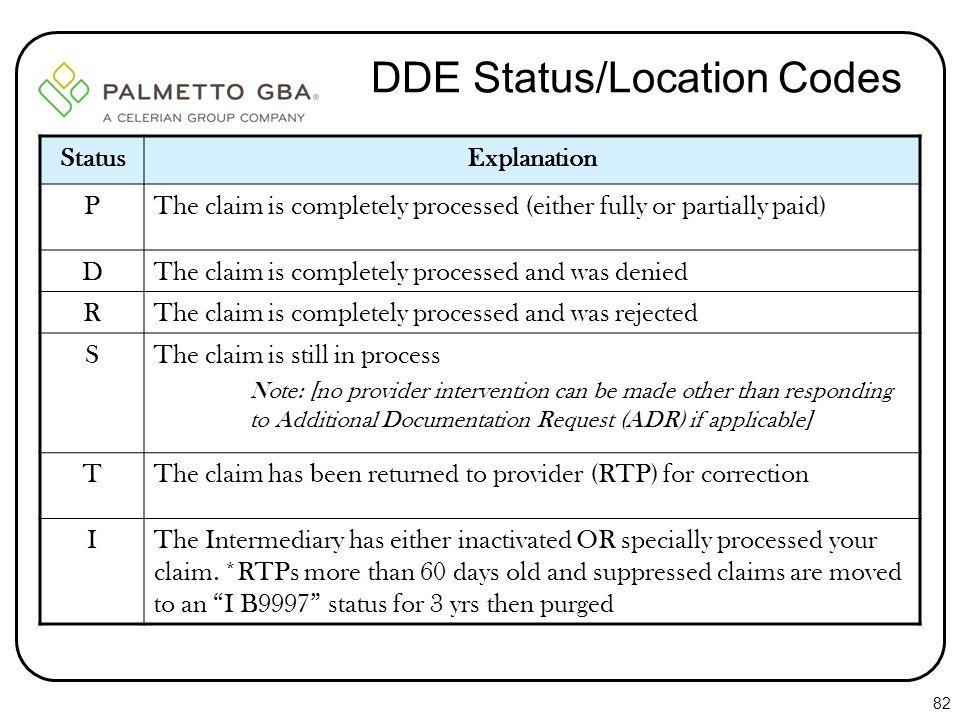 DDE Status/Location Codes