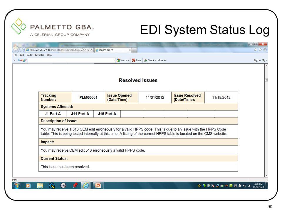 EDI System Status Log