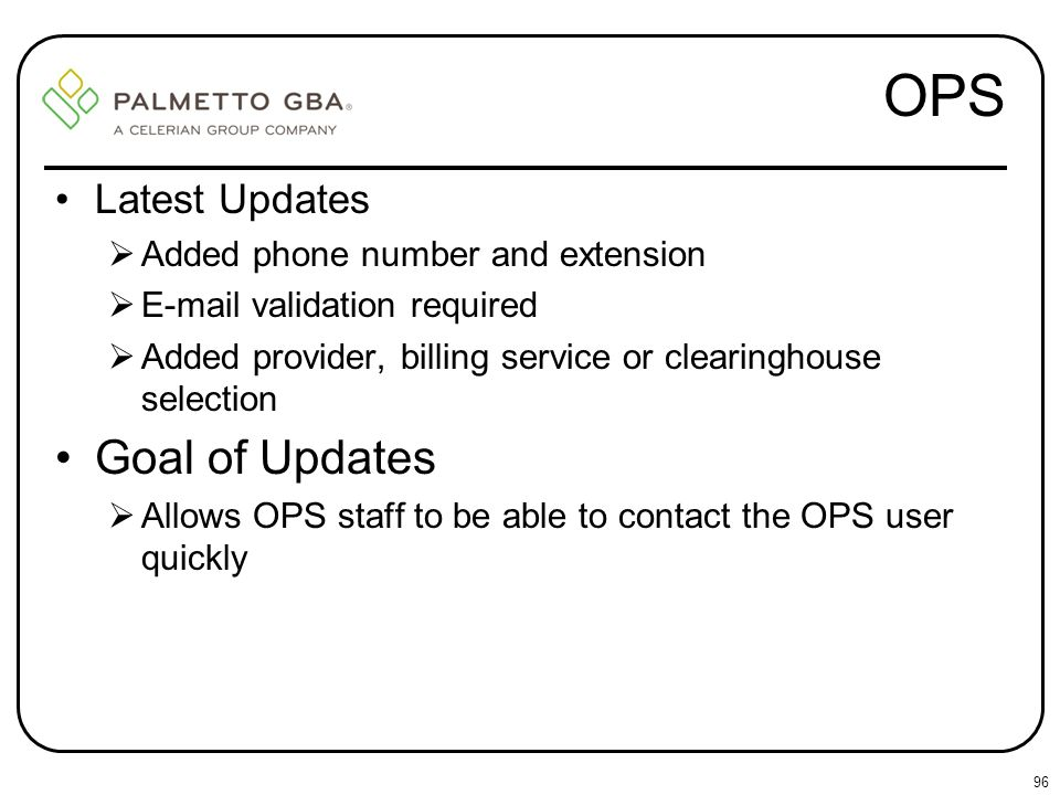 OPS Goal of Updates Latest Updates Added phone number and extension