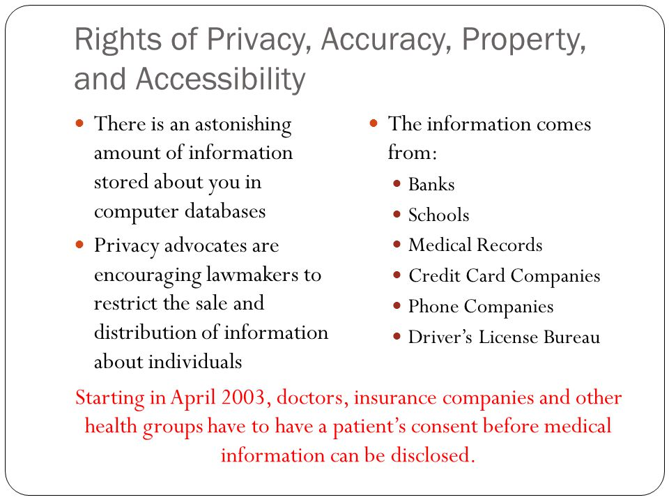 Rights of Privacy, Accuracy, Property, and Accessibility
