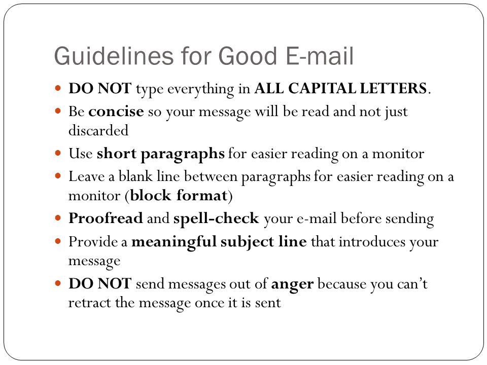 Guidelines for Good E-mail