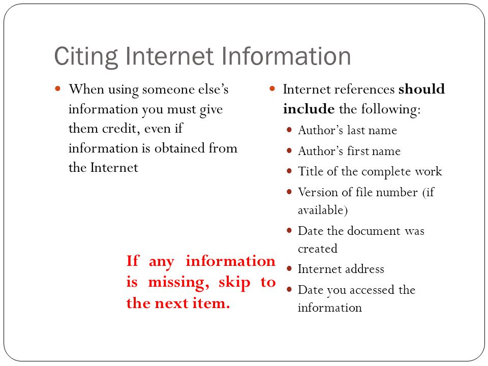 Citing Internet Information