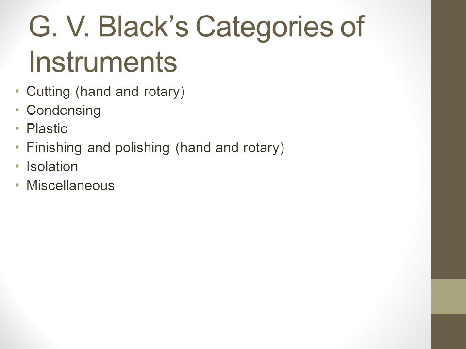 G. V. Black's Categories of Instruments