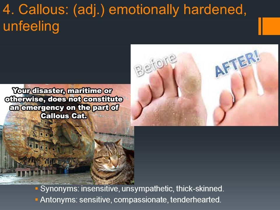 4. Callous: (adj.) emotionally hardened, unfeeling