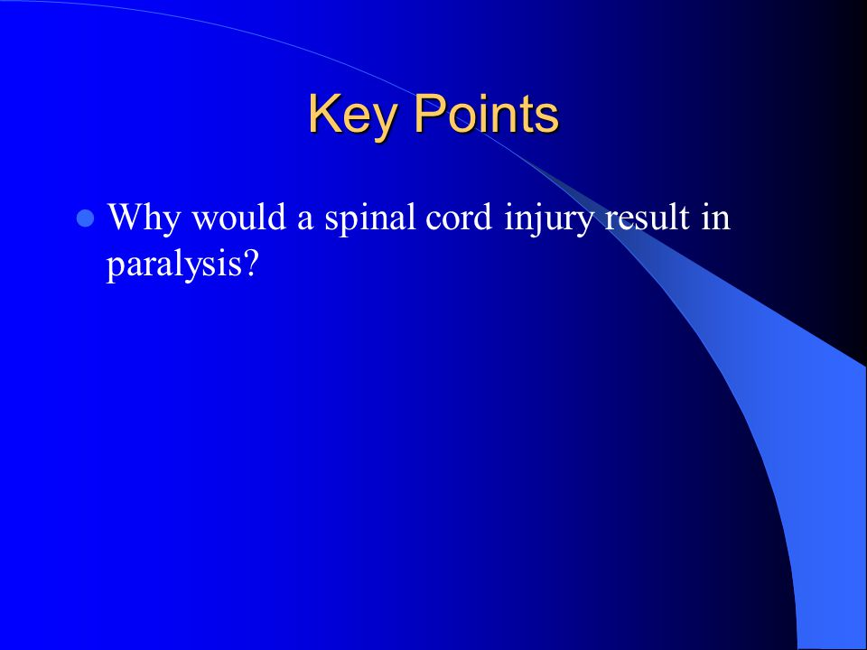 Key Points Why would a spinal cord injury result in paralysis