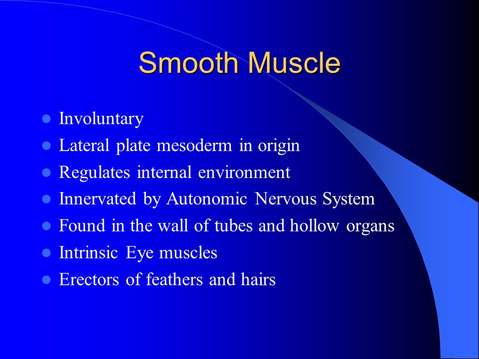 Smooth Muscle Involuntary Lateral plate mesoderm in origin