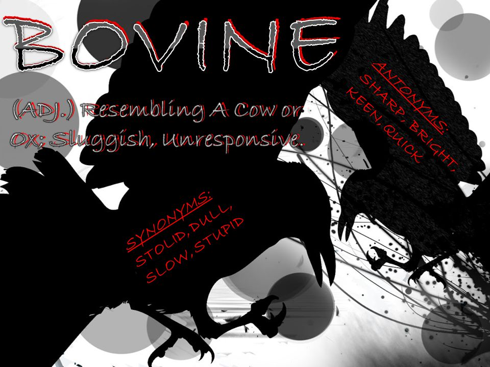 BOVINE BOVINE (ADJ.) Resembling A Cow or