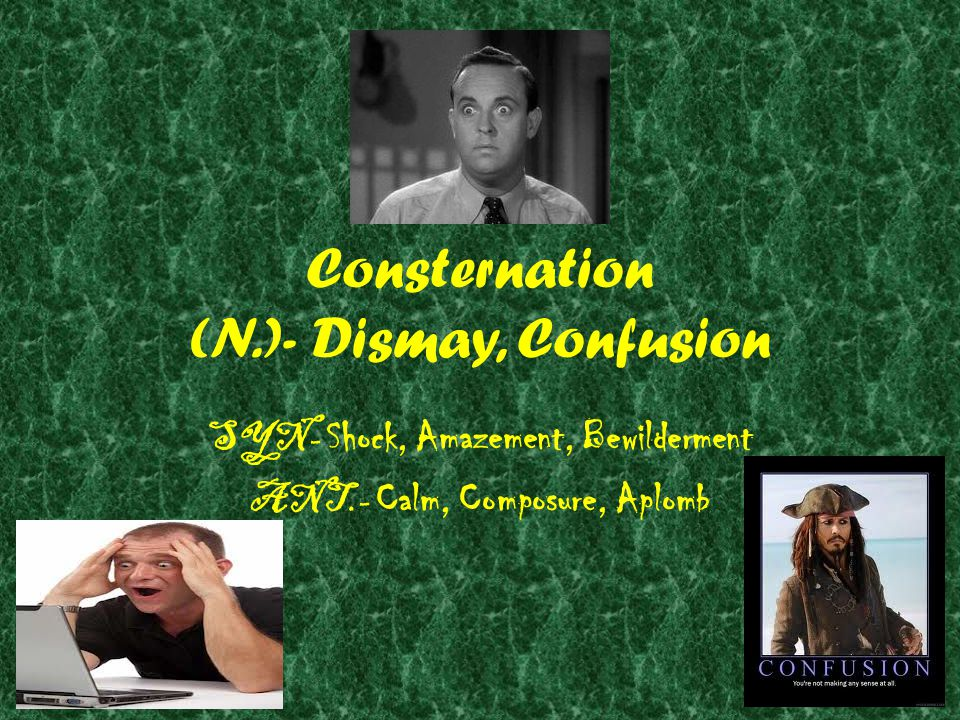 Consternation (N.)- Dismay, Confusion