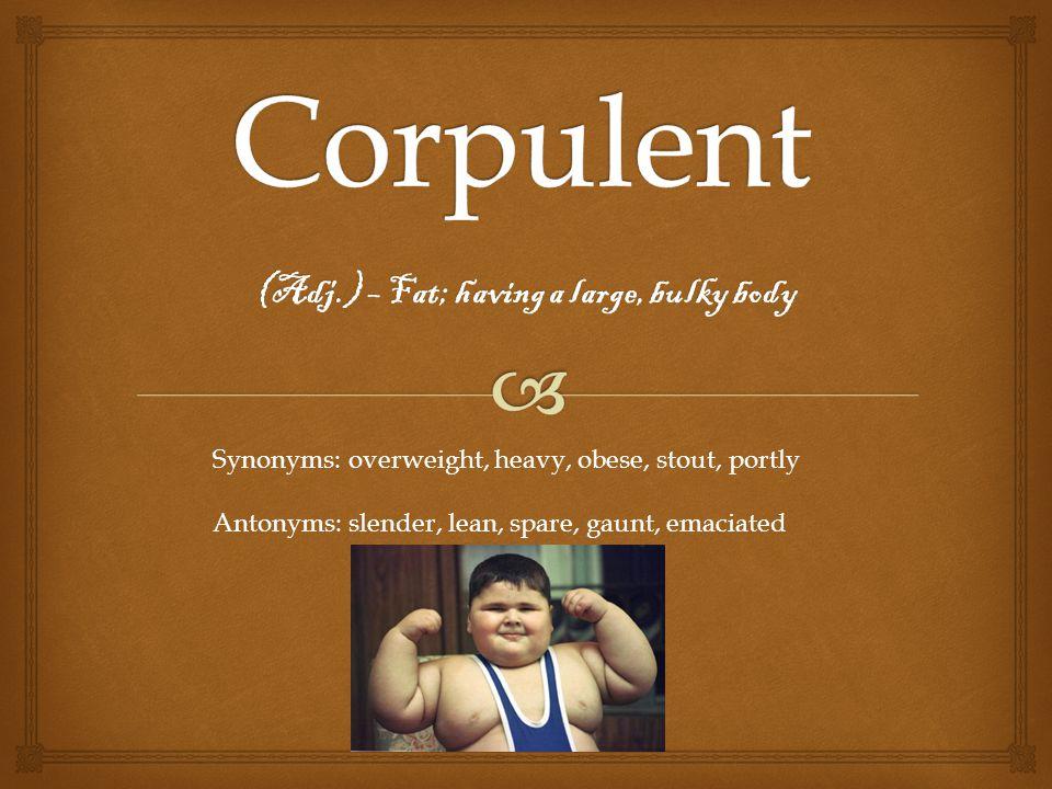 (Adj.) – Fat; having a large, bulky body