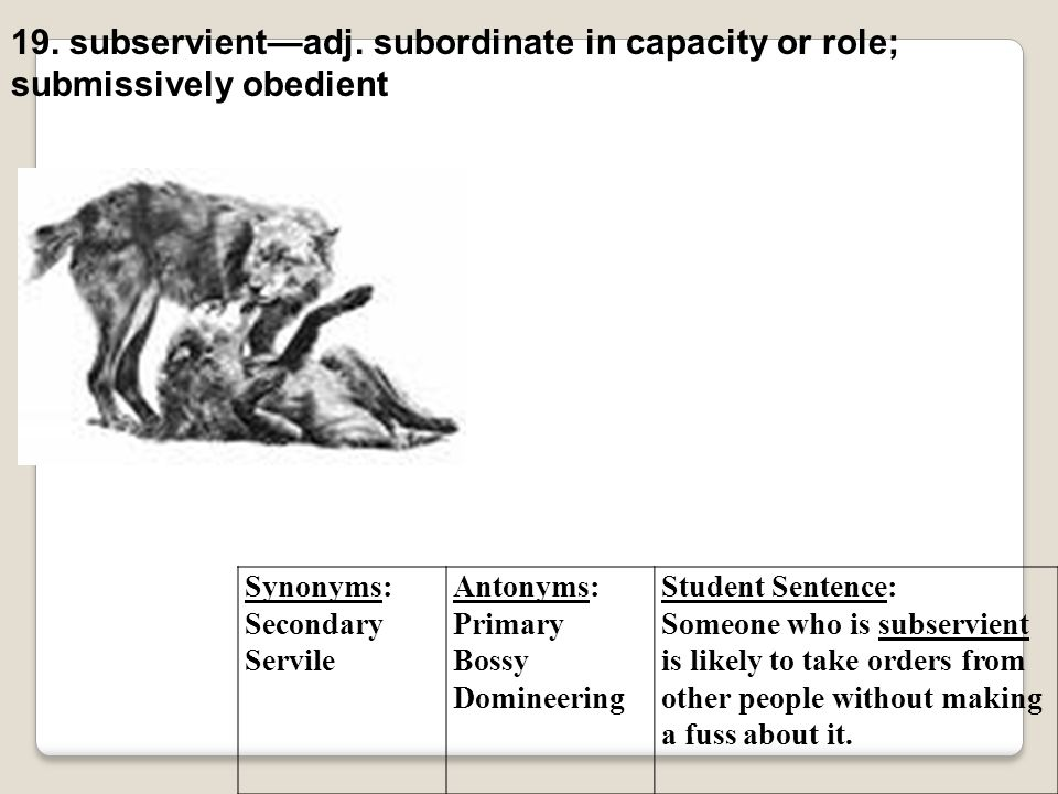 19. subservient—adj. subordinate in capacity or role;