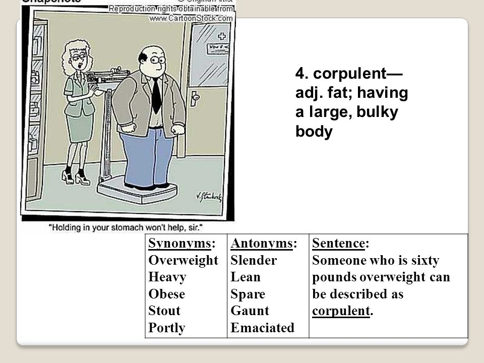 4. corpulent—adj. fat; having a large, bulky body