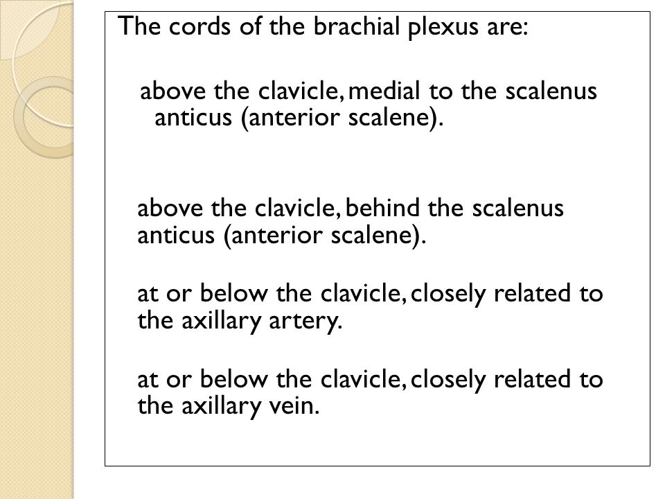 The cords of the brachial plexus are: