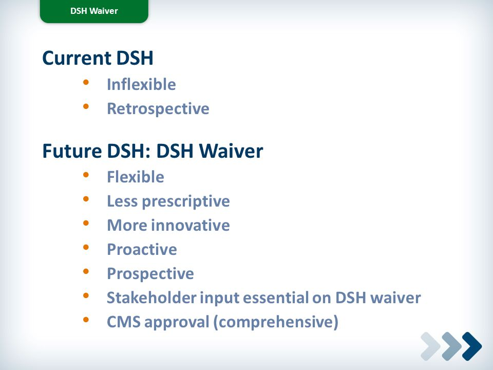 Current DSH Future DSH: DSH Waiver Inflexible Retrospective Flexible